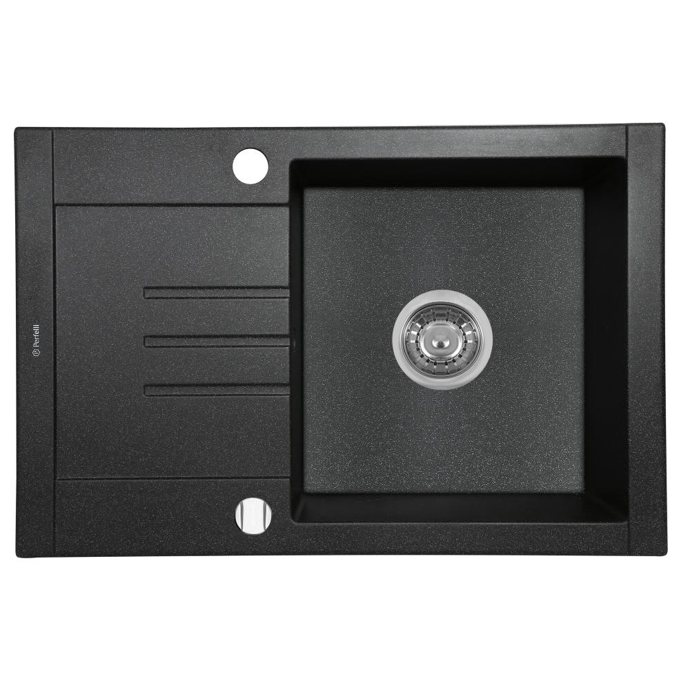 Granite kitchen sink Perfelli TINO PGT 1341-66 BLACK METALLIC
