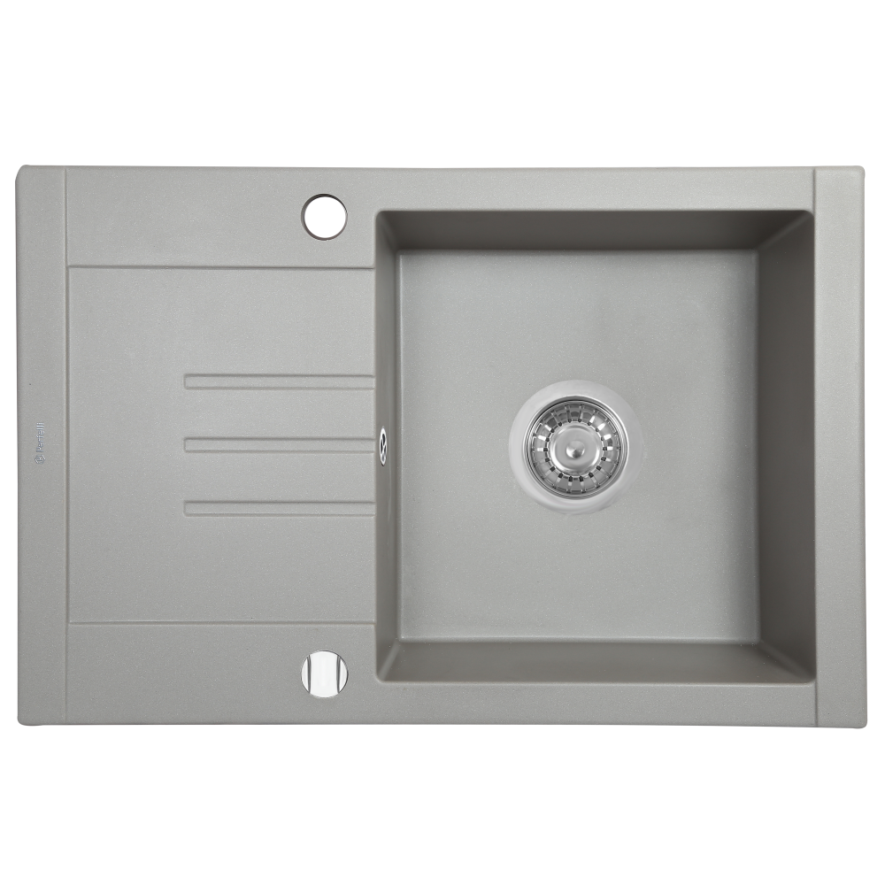 Granite kitchen sink Perfelli TINO PGT 1341-66 GREY METALLIC