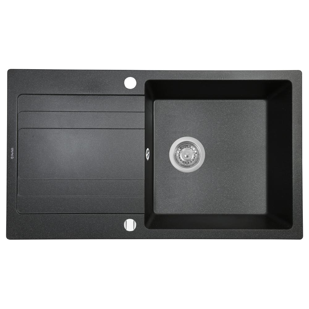Мийка кухонна гранітна  Perfelli VILLA PGV 1141-86 BLACK METALLIC