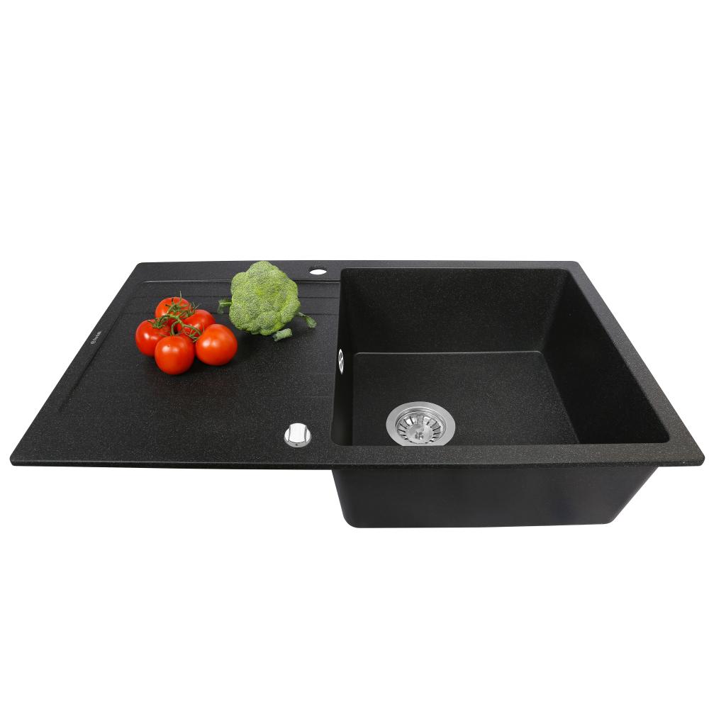 Granite kitchen sink Perfelli VILLA PGV 1141-86 BLACK METALLIC