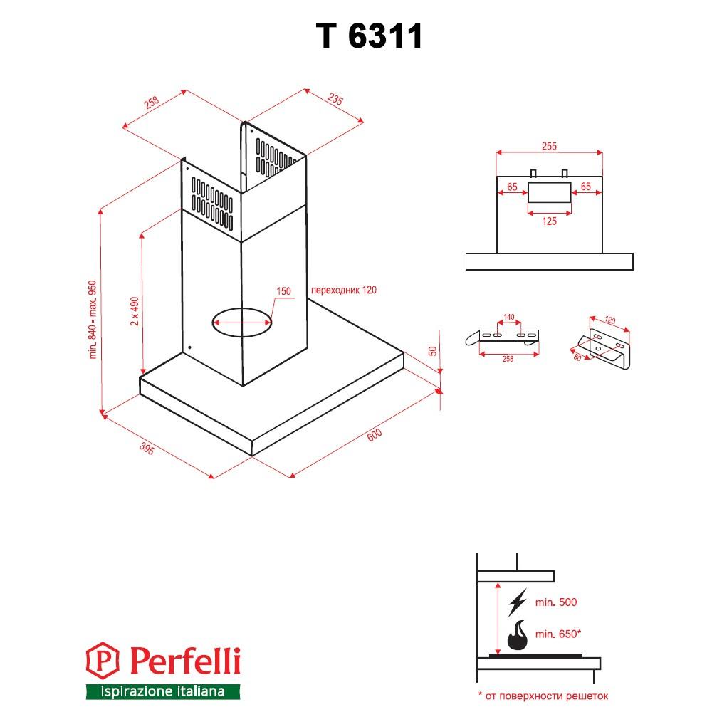Hood decorative T-shaped Perfelli T 6311 I