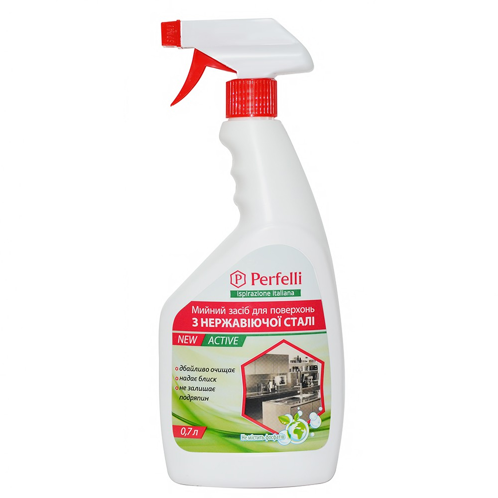 Detergent for stainless steel surfaces