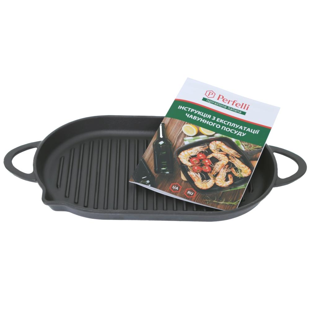 Чугунная овальная сковорода гриль Perfelli 5690 33х20 см.