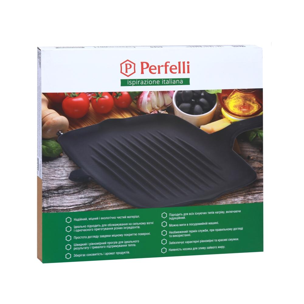 Cast-iron flat frying pan Perfelli 6459 grill 32x22 cm.