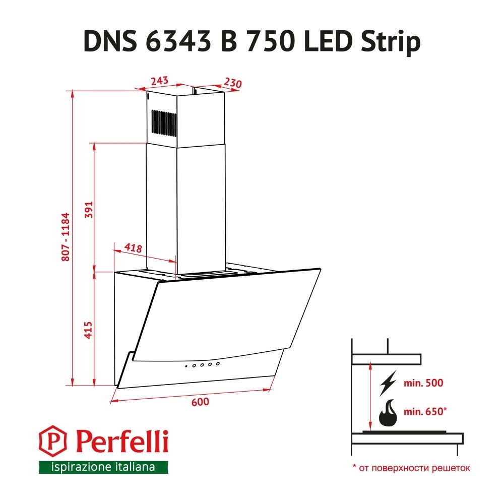 Decorative Incline Hood Perfelli DNS 6343 B 750 WH LED Strip