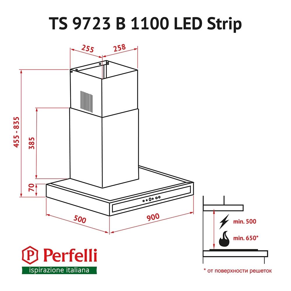 Вытяжка декоративная Т-образная Perfelli TS 9723 B 1100 BL LED Strip