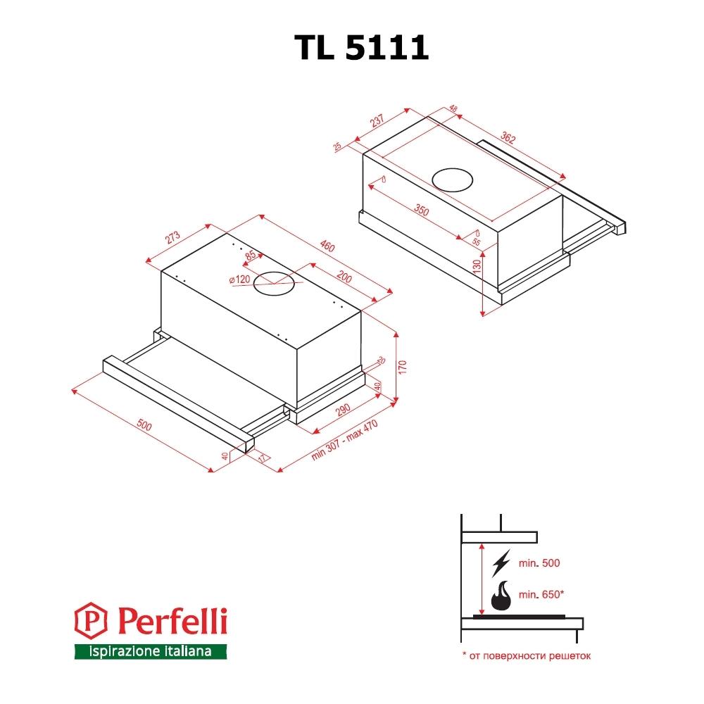 Вытяжка телескопическая Perfelli TL 5111 W