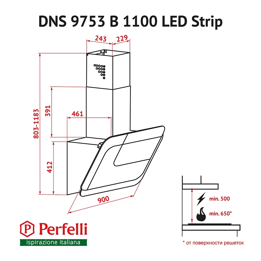 Decorative Incline Hood Perfelli DNS 9753 B 1100 WH/BL LED Strip