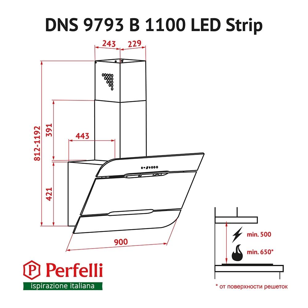 Cappa aspirante decorativa inclinato Perfelli DNS  9793 B 1100 BL LED Strip