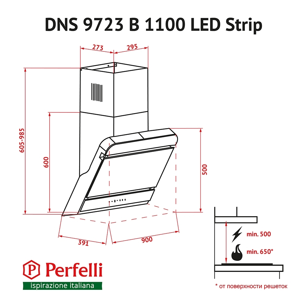 Decorative Incline Hood Perfelli DNS 9723 B 1100 BL LED Strip