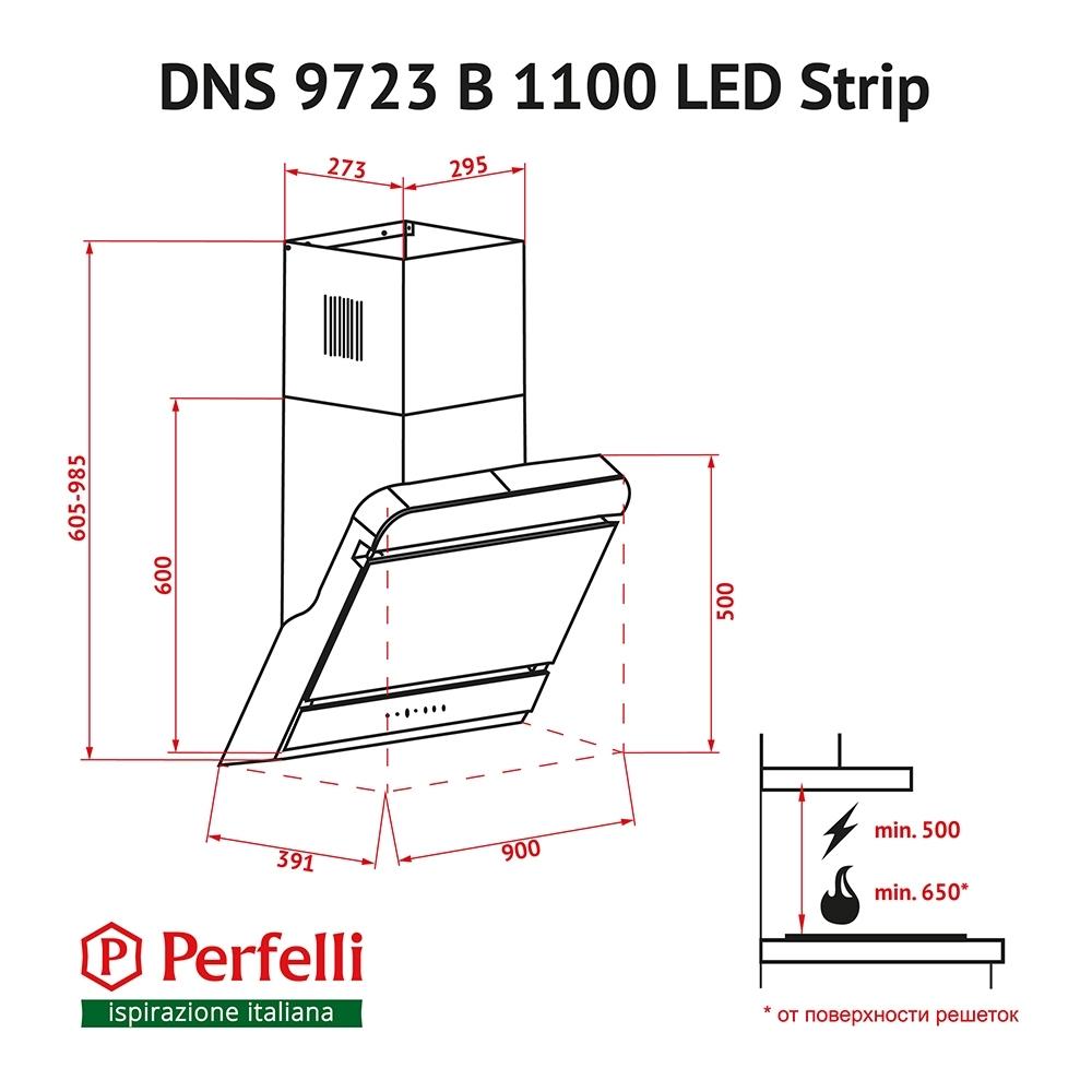 Вытяжка декоративная наклонная Perfelli DNS 9723 B 1100 BL LED Strip