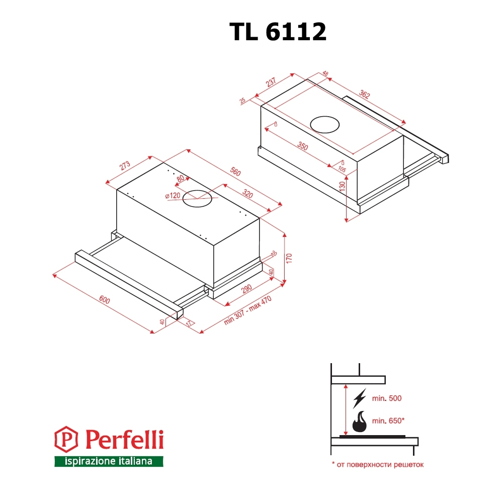Вытяжка телескопическая Perfelli TL 6112 BL LED