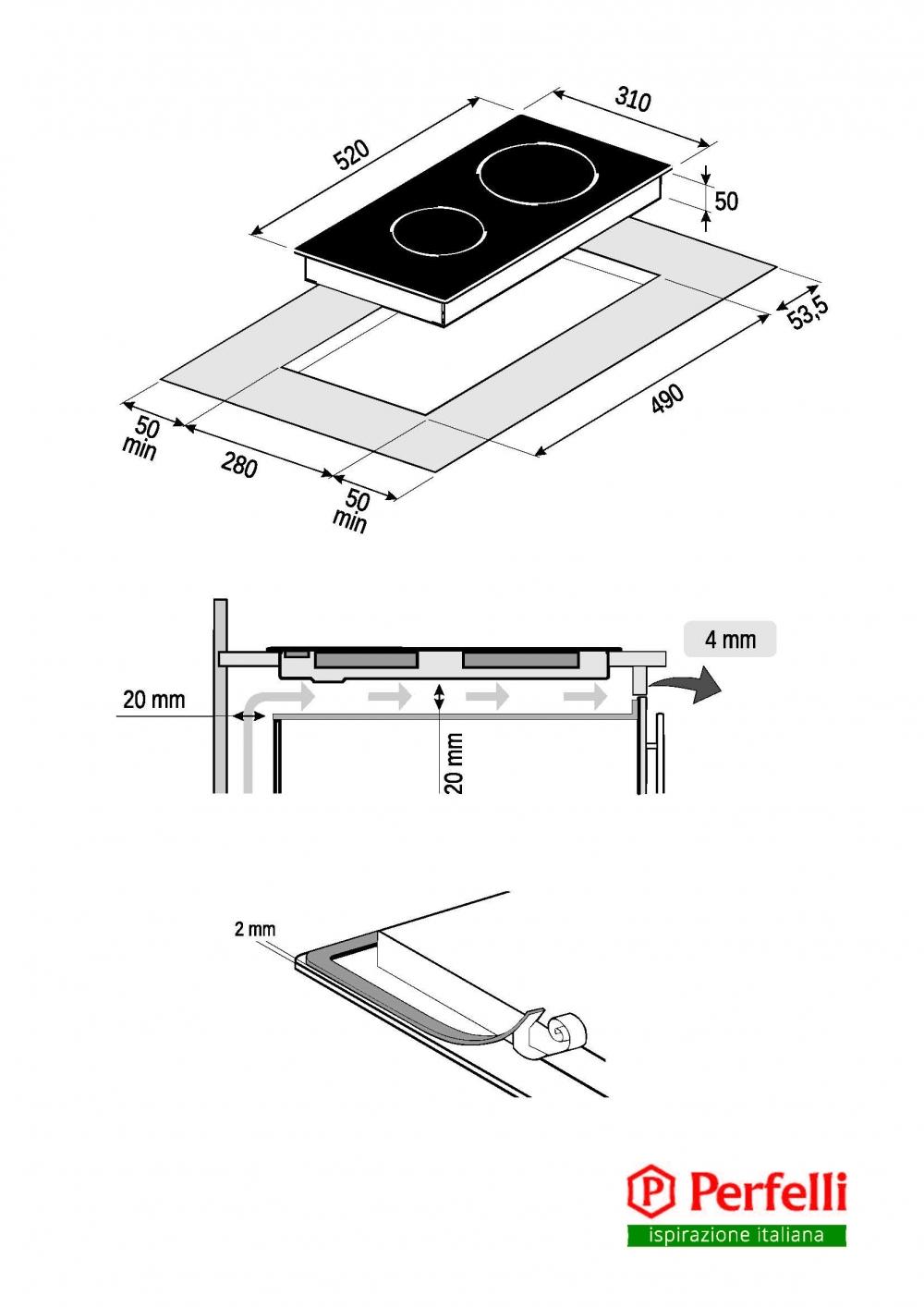 Поверхность индукционная Domino Perfelli HI 311 BL
