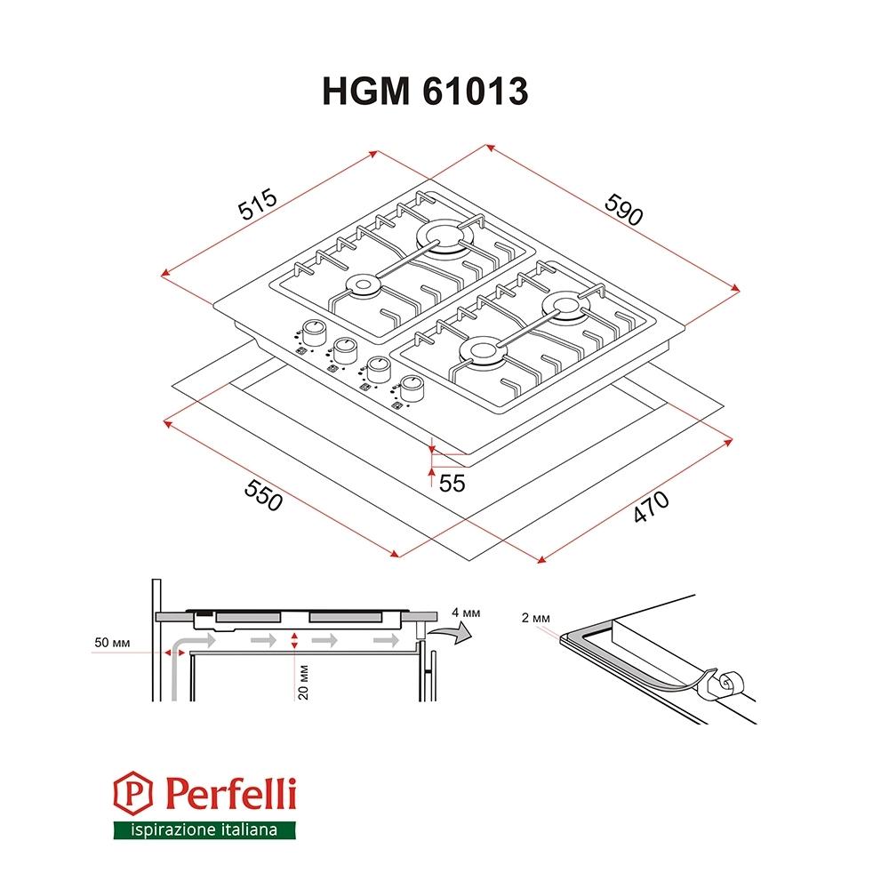 Поверхность газовая на металле Perfelli HGM 61013 BL