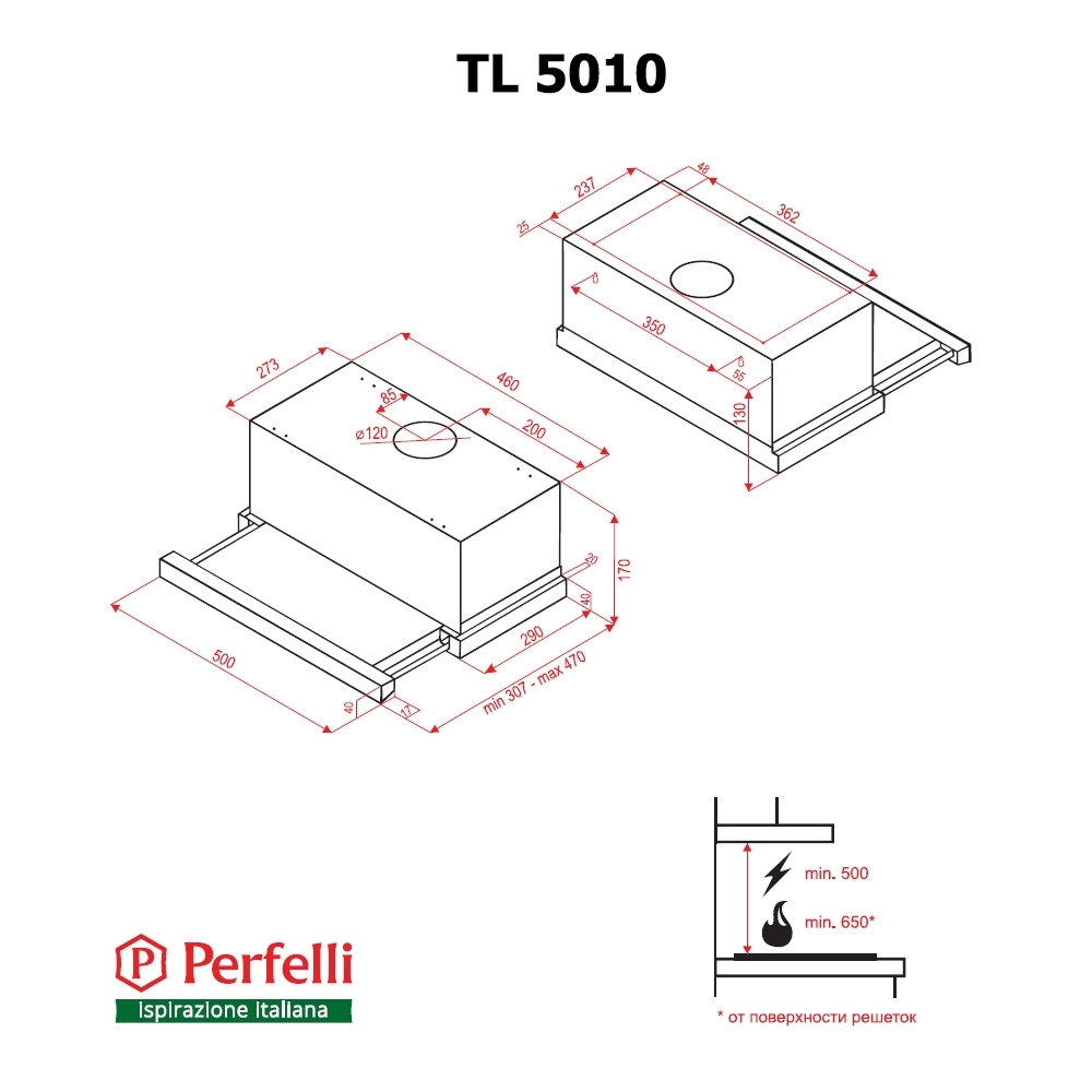 Вытяжка телескопическая Perfelli TL 5010 I