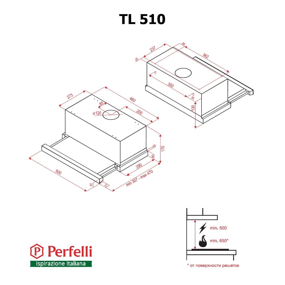 Вытяжка телескопическая Perfelli TL 510 BL-1