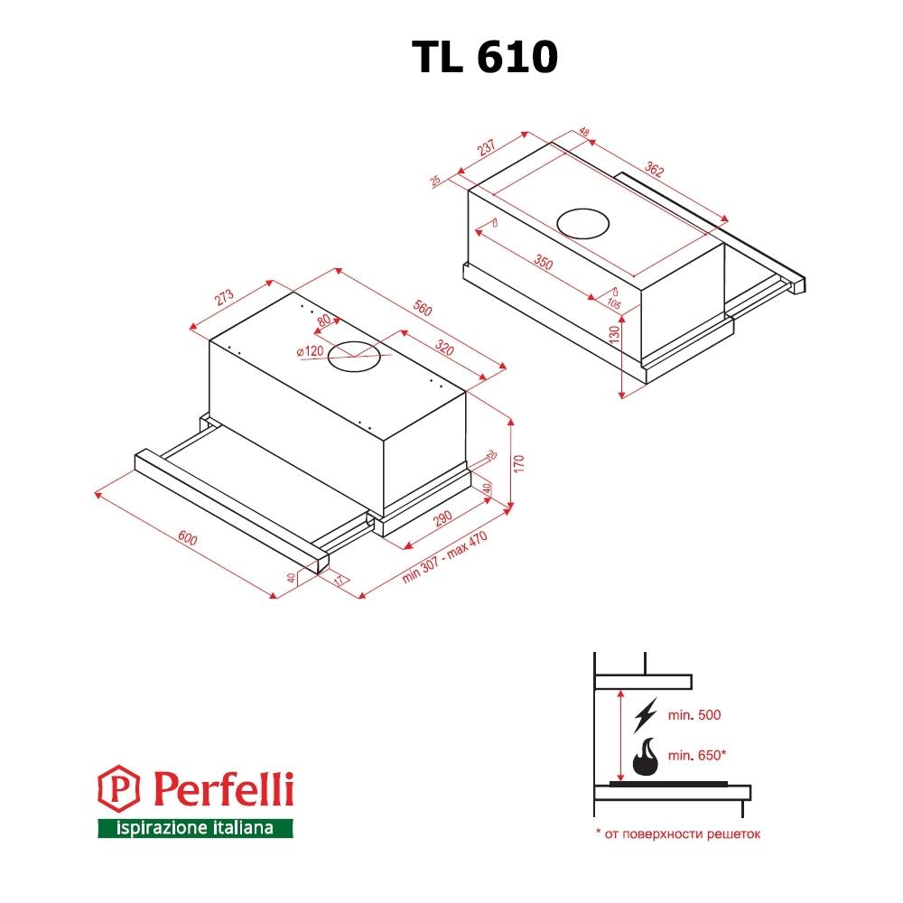 Вытяжка телескопическая Perfelli TL 610 BL-1