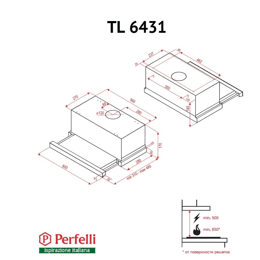 Вытяжка телескопическая Perfelli TL 6431 W