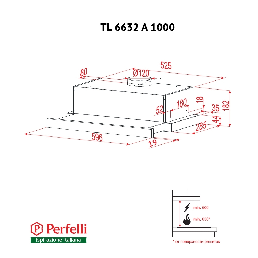 Hood telescopic Perfelli TL 6632 A 1000 BL GLASS