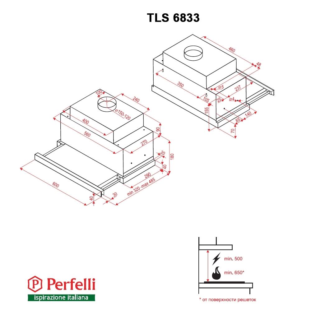 Вытяжка телескопическая Perfelli TLS 6833 BL LED Strip
