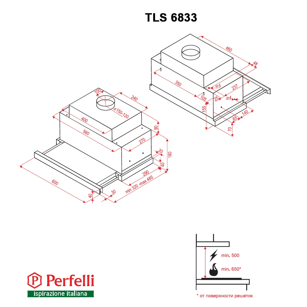 Hood telescopic Perfelli TLS 6833 BL LED Strip