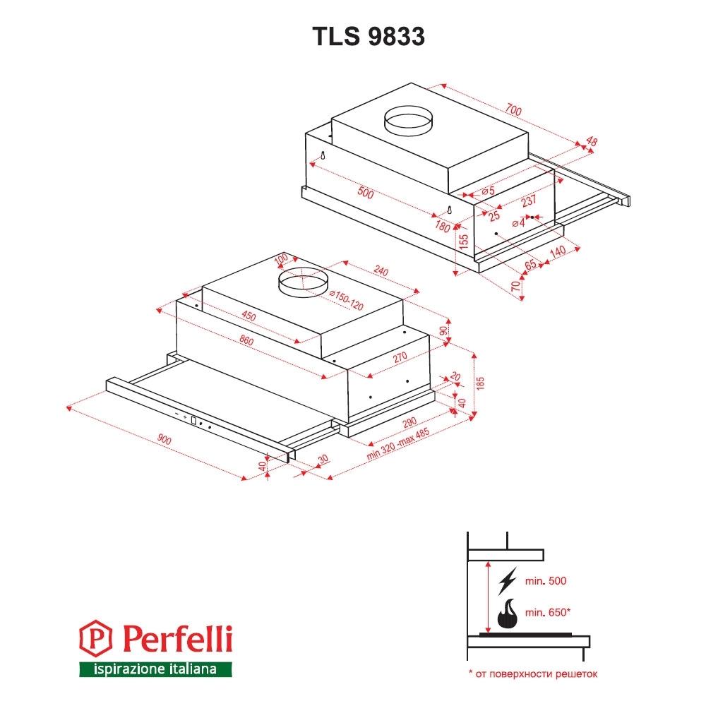 Hood telescopic Perfelli TLS 9833 W LED Strip