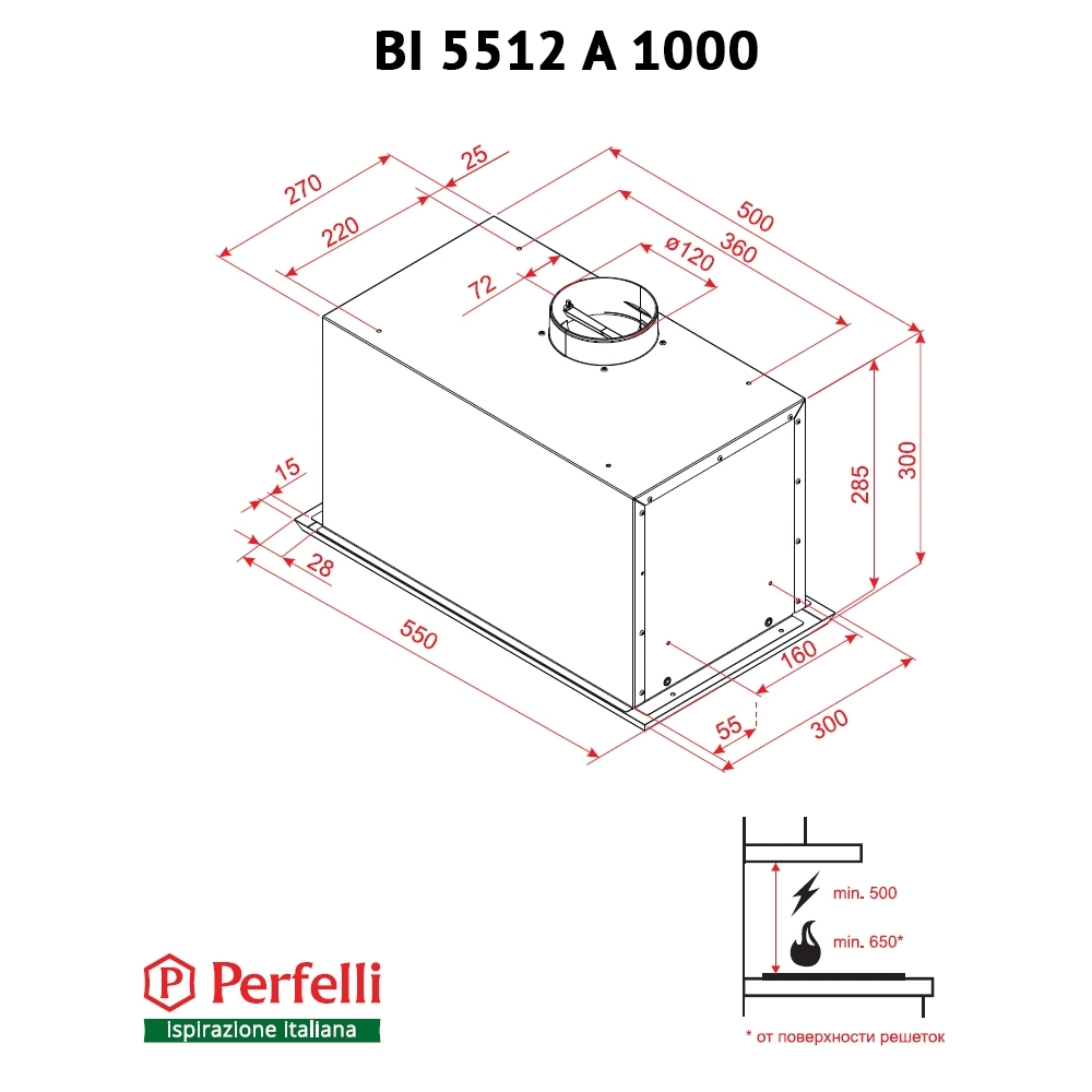 Fully built-in Hood Perfelli BI 5512 A 1000 I LED