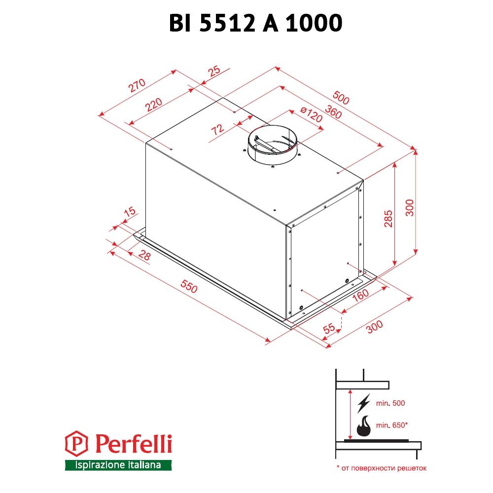 Fully built-in Hood Perfelli BI 5512 A 1000 I LED