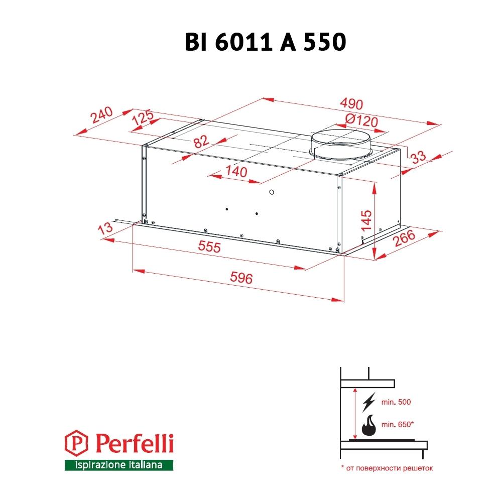Вытяжка полновстраиваемая Perfelli BI 6011 A 550 BL