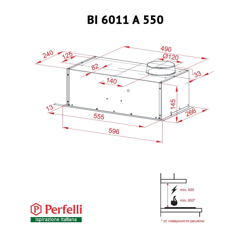 Fully built-in Hood Perfelli BI 6011 A 550 I