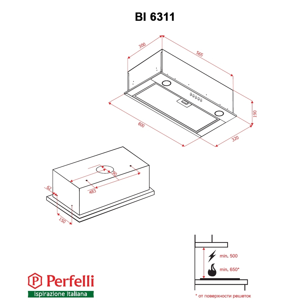 Fully built-in Hood Perfelli BI 6311 BL