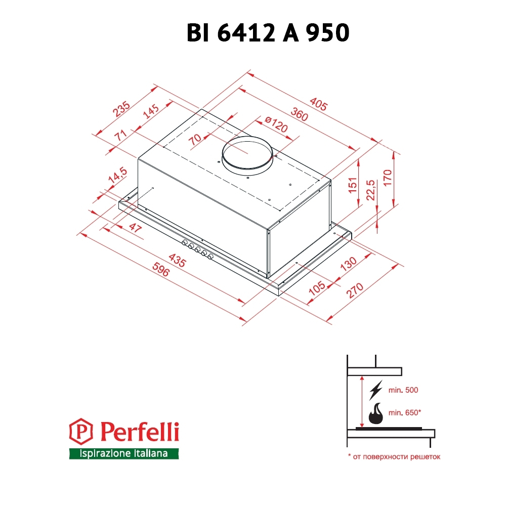 Fully built-in Hood Perfelli BI 6412 A 950 I LED