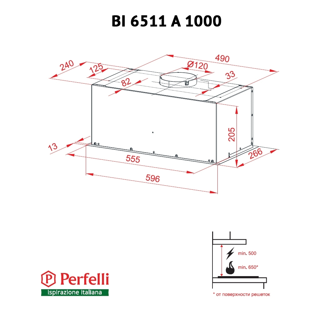 Fully built-in Hood Perfelli BI 6511 A 1000 I
