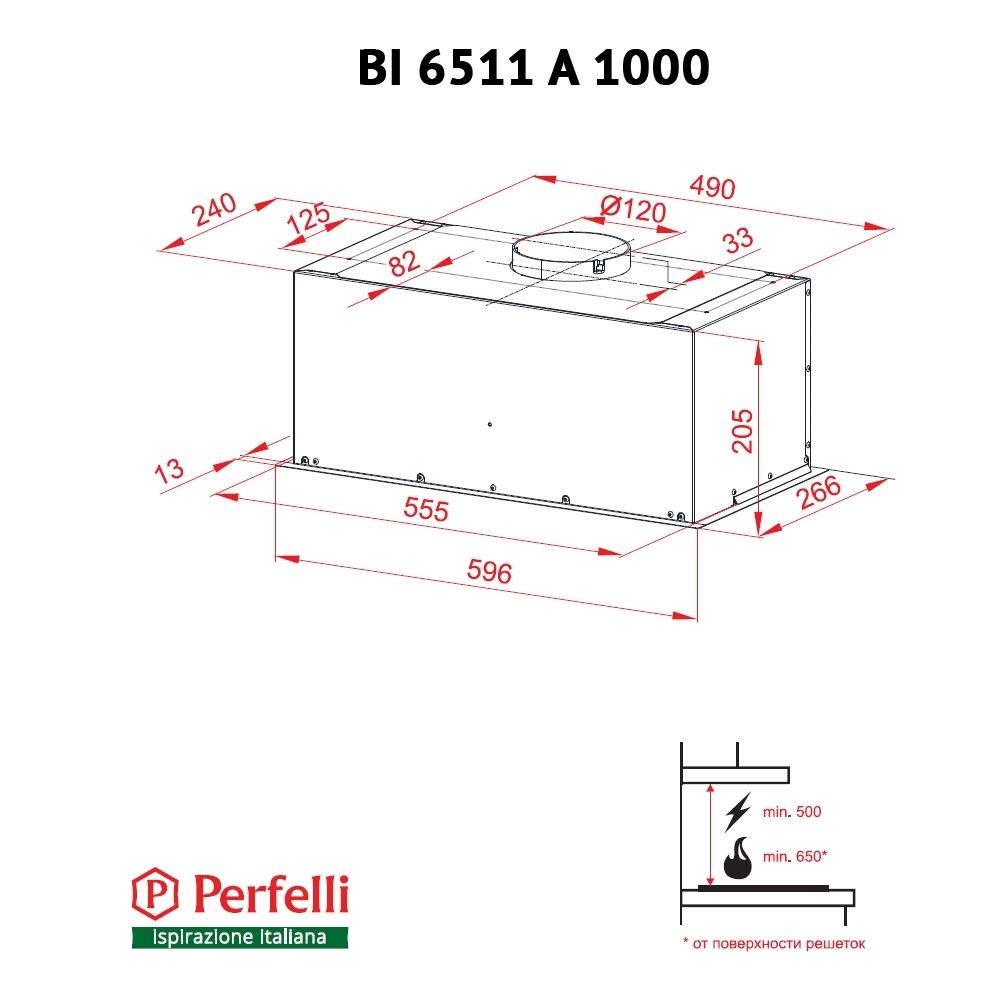 Вытяжка полновстраиваемая Perfelli BI 6511 A 1000 I