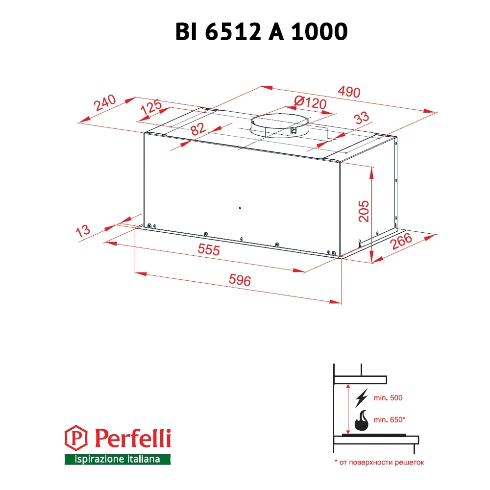 Вытяжка полновстраиваемая Perfelli BI 6512 A 1000 DARK IV LED