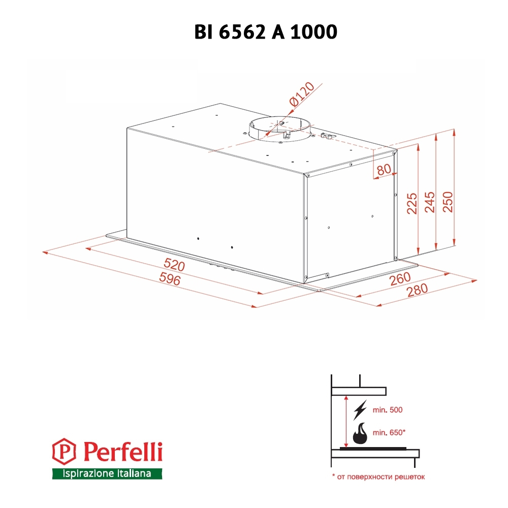 Вытяжка полновстраиваемая Perfelli BI 6562 A 1000 W LED GLASS
