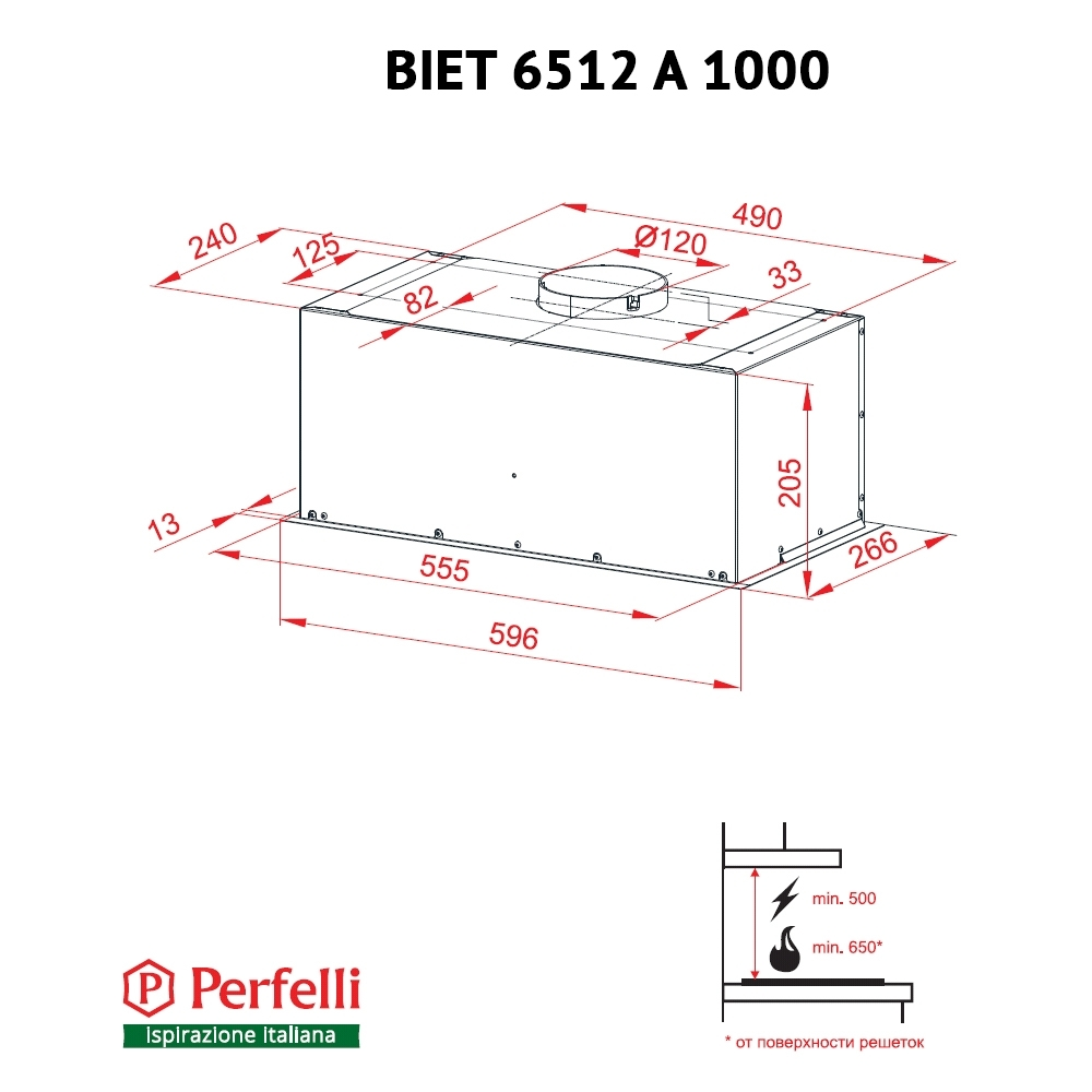 Fully built-in Hood Perfelli BIET 6512 A 1000 W LED