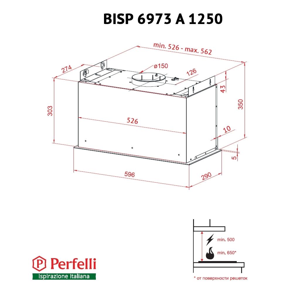 Витяжка повновбудована Perfelli BISP 6973 A 1250 BL LED Strip