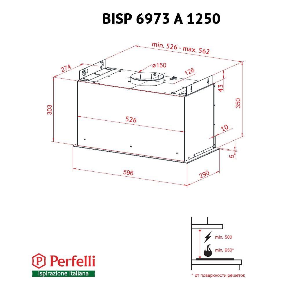 Fully built-in Hood Perfelli BISP 6973 A 1250 W LED Strip