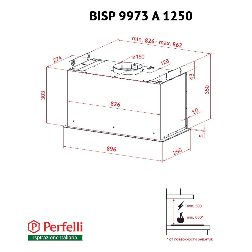 Fully built-in Hood Perfelli BISP 9973 A 1250 W LED Strip