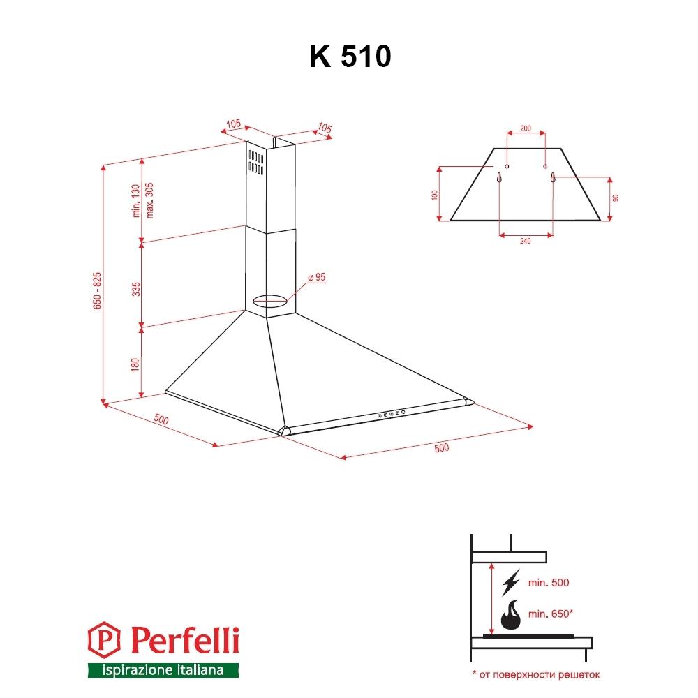 Dome hood Perfelli K 510 BL