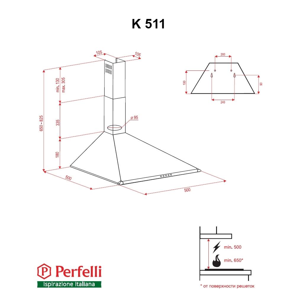 Вытяжка купольная Perfelli K 511 BL