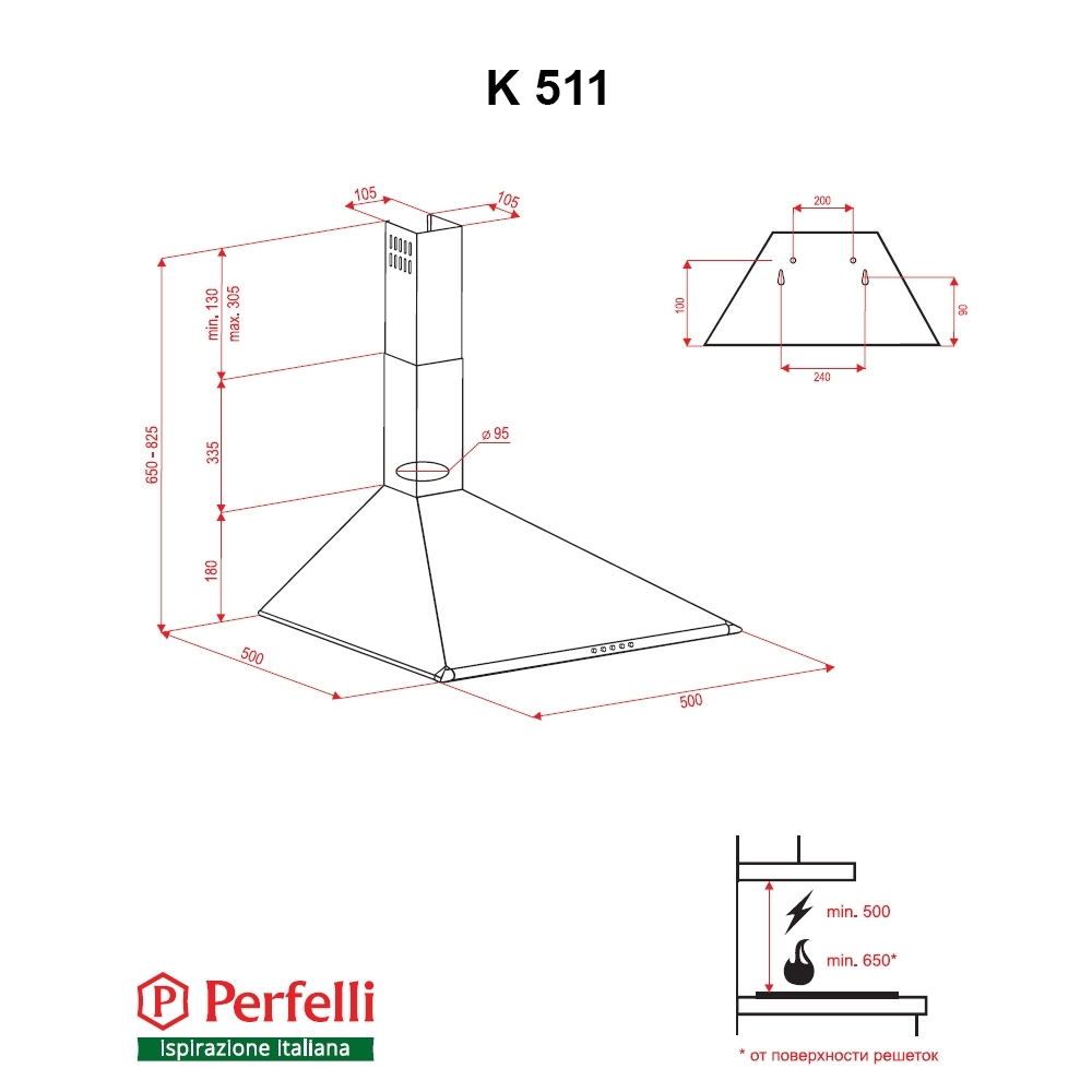 Вытяжка купольная Perfelli K 511 BR