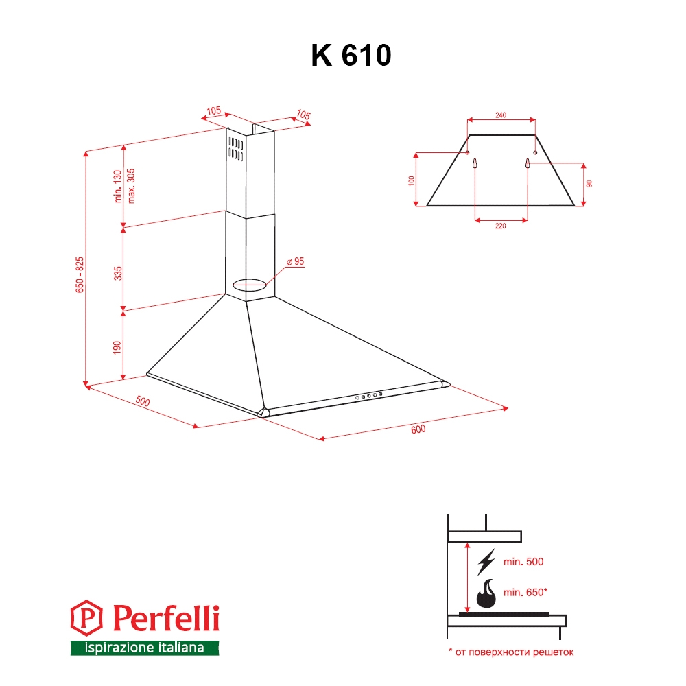 Dome hood Perfelli K 610 IV