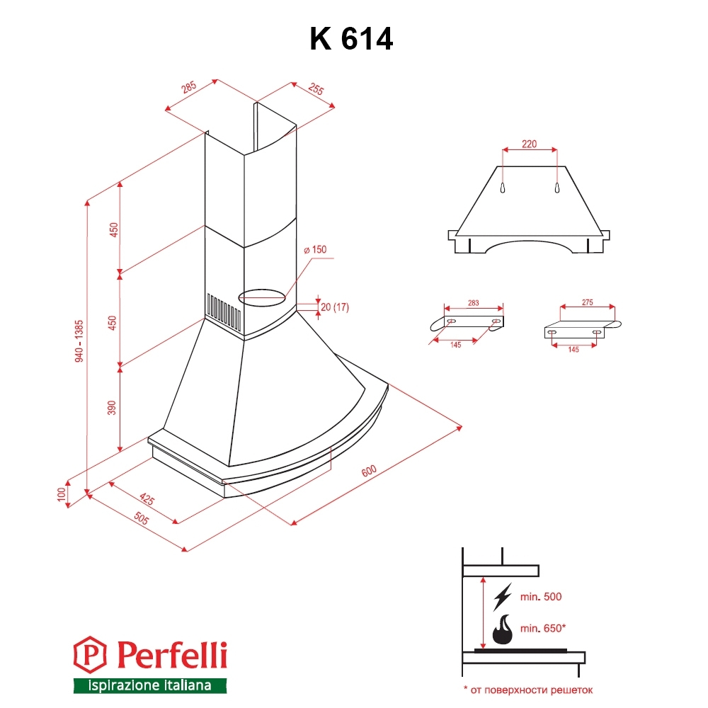 Dome hood Perfelli K 614 Black Country LED