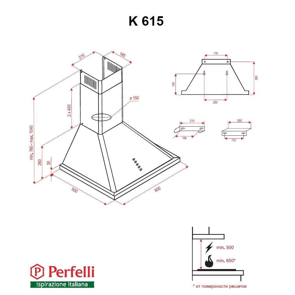 Dome hood Perfelli K 615 BL Retro