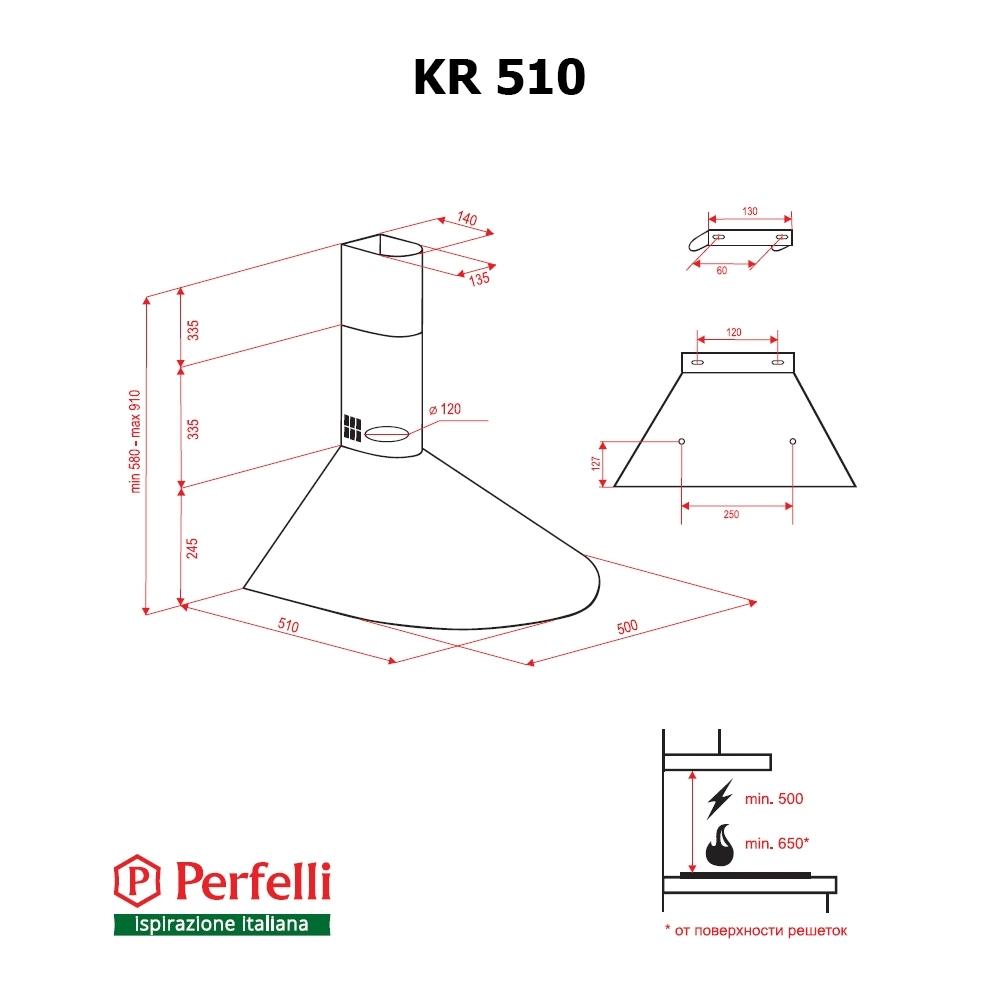 Вытяжка купольная Perfelli KR 510 BL
