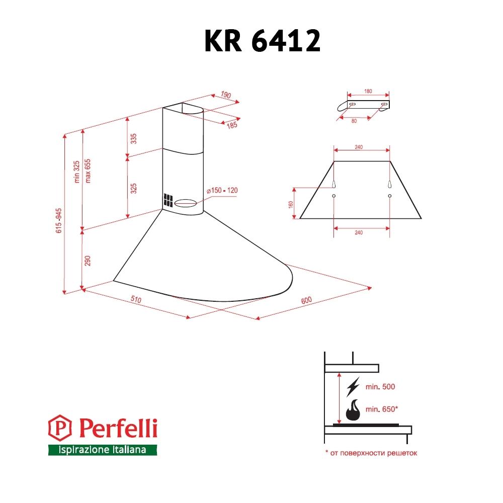 Вытяжка купольная Perfelli KR 6412 IV LED