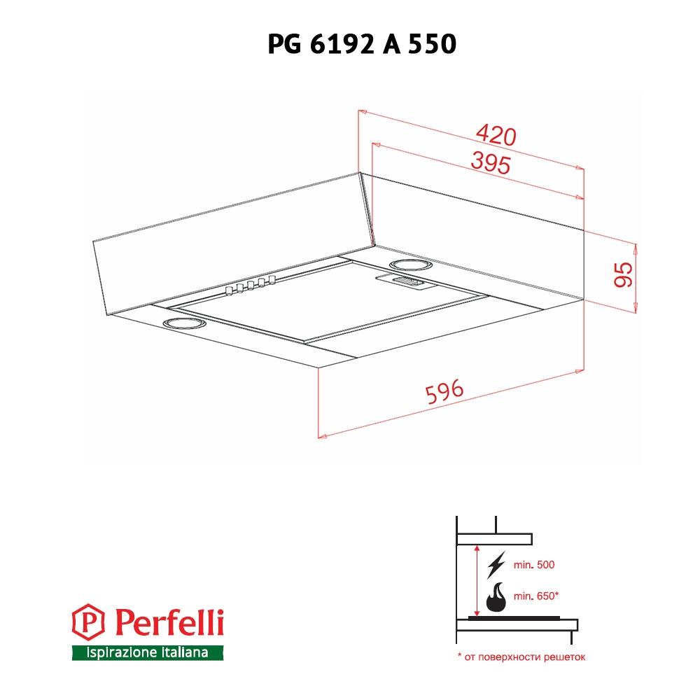 Built-in hood Perfelli G 6192 A 550 W LED GLASS