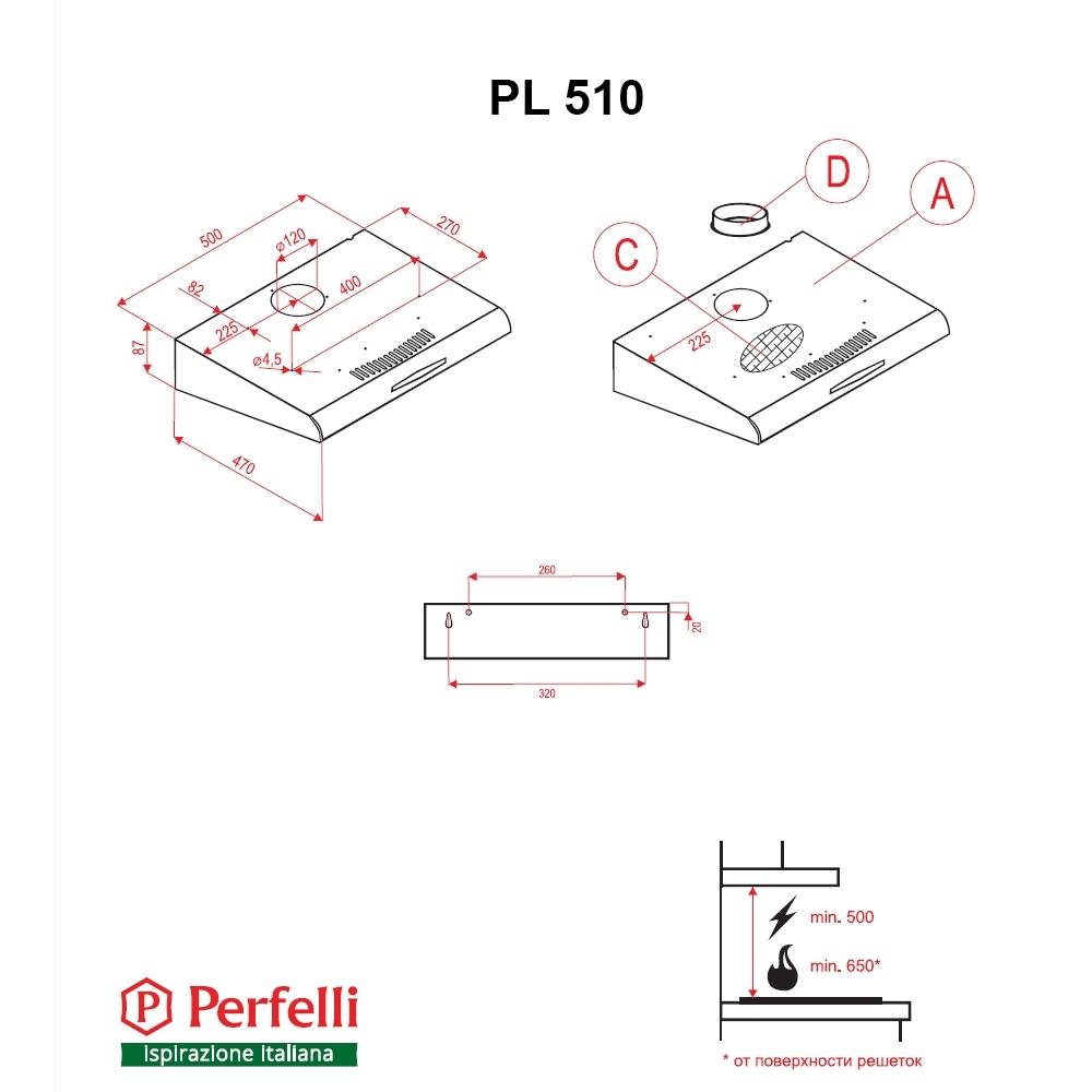 Flat Hood Perfelli PL 510 BR